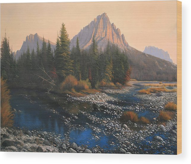 Autumn Wood Print featuring the painting 080414-4030 September Evening On Horse Thief Creek by Kenneth Shanika
