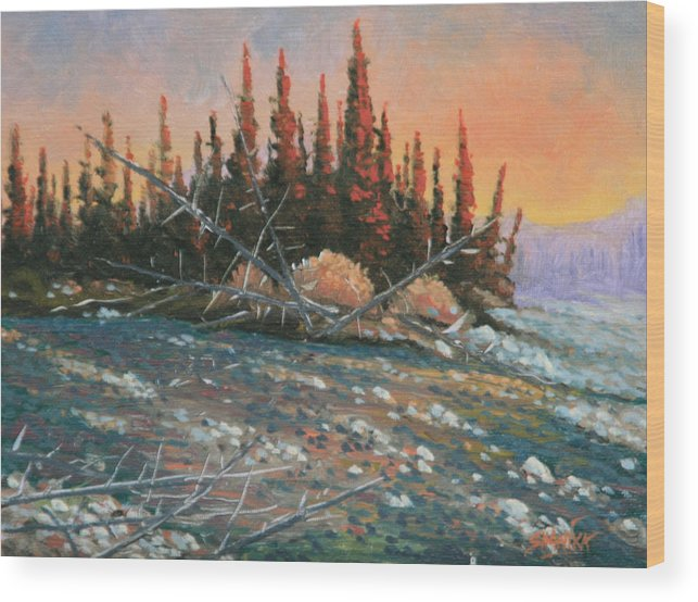 Landscape Wood Print featuring the painting 090902-68 All Aglow by Kenneth Shanika