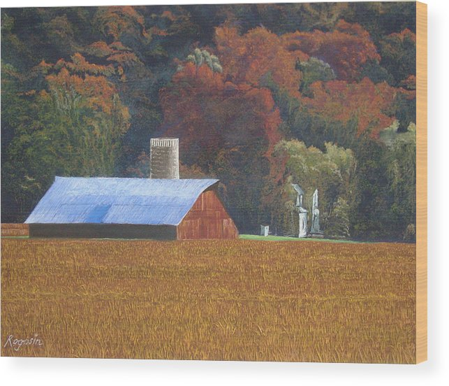 Landscape Wood Print featuring the pastel Autumn Of Our Father's by Harvey Rogosin