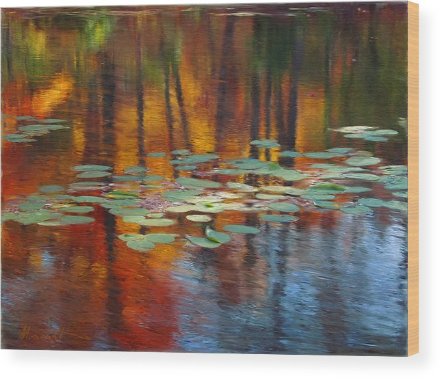 Digital Painting Wood Print featuring the painting Autumn Reflections I by Ron Morecraft