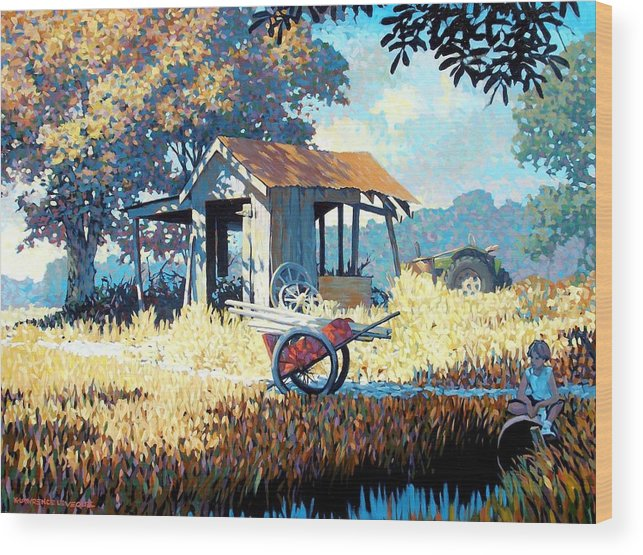 Cart Wood Print featuring the painting Breaktime by Kevin Lawrence Leveque