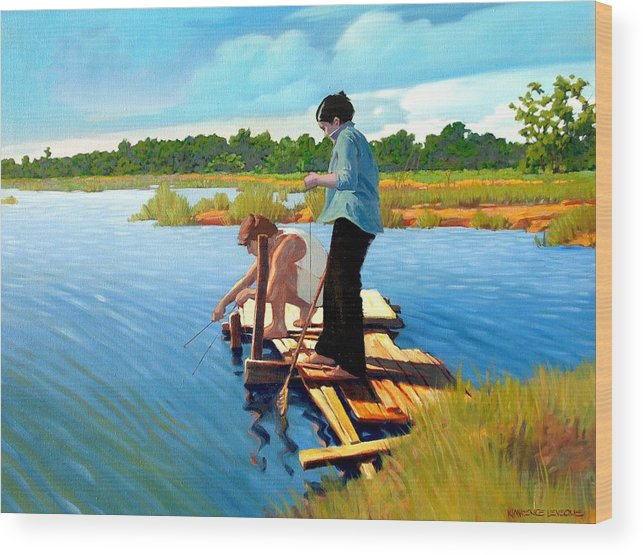 Water Wood Print featuring the painting Bring The Bucket by Kevin Lawrence Leveque