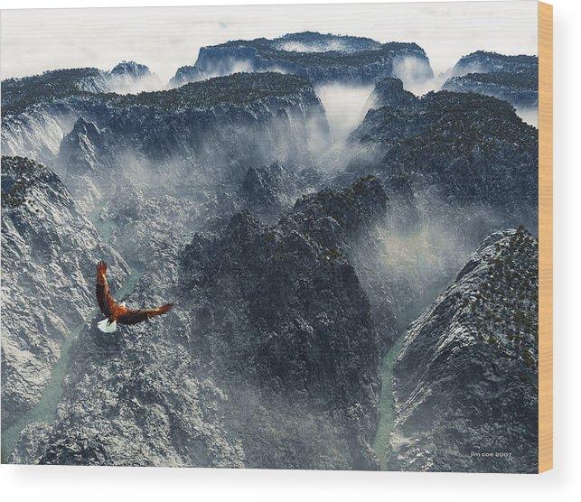 Jim Coe Wood Print featuring the digital art Cloud Canyon by Jim Coe