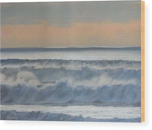 Seascape Wood Print featuring the pastel Dusk At High Tide by Harvey Rogosin