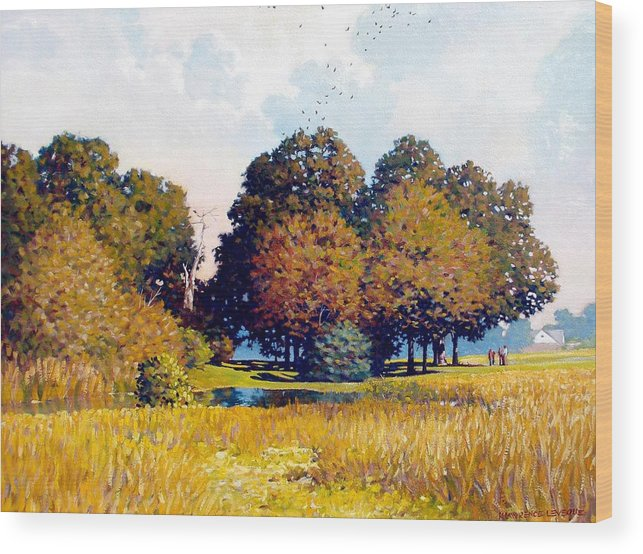 Landscape Wood Print featuring the painting Foursome by Kevin Lawrence Leveque