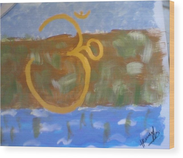 Omkar Wood Print featuring the painting Hds-universal Om by Hema V Gopaluni