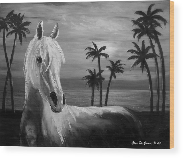 Horses Wood Print featuring the painting Horses In Paradise Tell Me Your Dream by Gina De Gorna