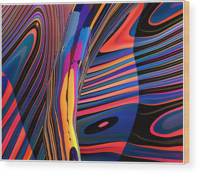 Abstract Art; Digital Fine Art; 3-d Rendering Wood Print featuring the digital art Kaleido-fa-callig. 10x11m37 Wide 11i by Terry Anderson