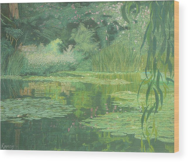Landscape Wood Print featuring the pastel Monet's Lament by Harvey Rogosin