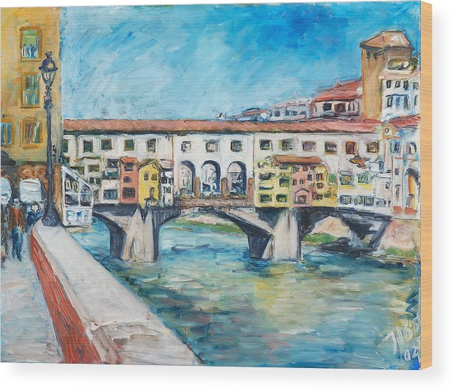 Bridge Italy Old Water Sky People Houses Wood Print featuring the painting Pontevecchio by Joan De Bot