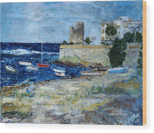 Sea Sky Sardinia Italy Boats Castle Beach Blue Wood Print featuring the painting Santa Lucia by Joan De Bot