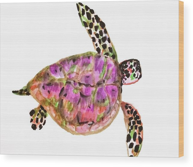 Turtles Wood Print featuring the painting Sea Turtle by Jennifer Thomas