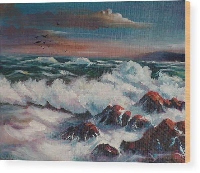 Seascape Wood Print featuring the painting Seascape 01 by Sylvia Stone