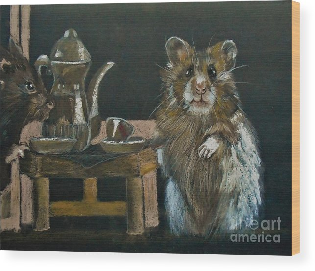 Hamsters Wood Print featuring the pastel Tea For Two by Angela Cartner