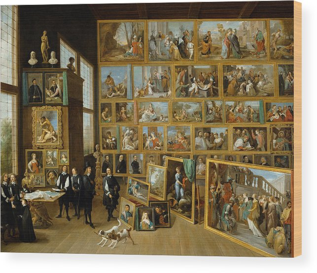 Animal Wood Print featuring the painting The Art Collection Of Archduke Leopold Wilhelm In Brussels by David Teniers the Younger