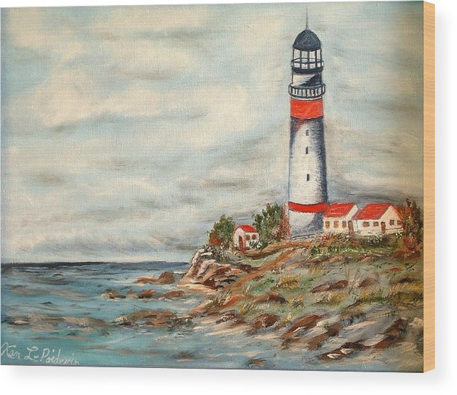 Lighthouse Ocean Houses Rocks Wood Print featuring the painting Lighthouse 2 by Kenneth LePoidevin