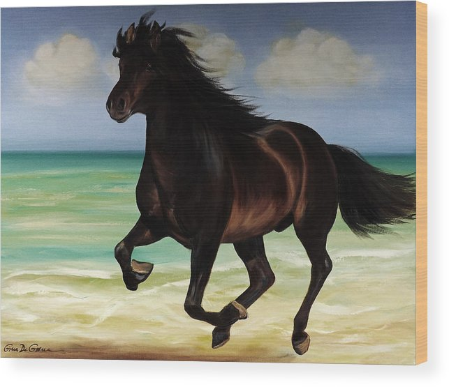 Horse Wood Print featuring the painting Horses In Paradise Run by Gina De Gorna