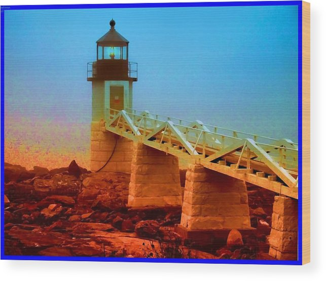 Lighthouse Wood Print featuring the photograph 3600001 Maine Lighthouse by Ed Immar