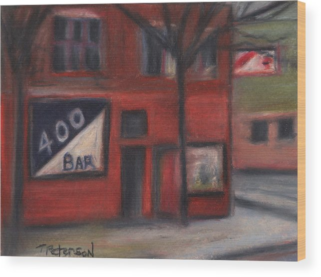 Bar Wood Print featuring the painting 400 Bar Minneapolis by Todd Peterson