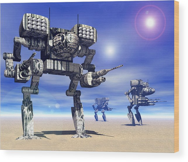 Science Fiction Wood Print featuring the digital art 501st Mech Trinary by Curtiss Shaffer