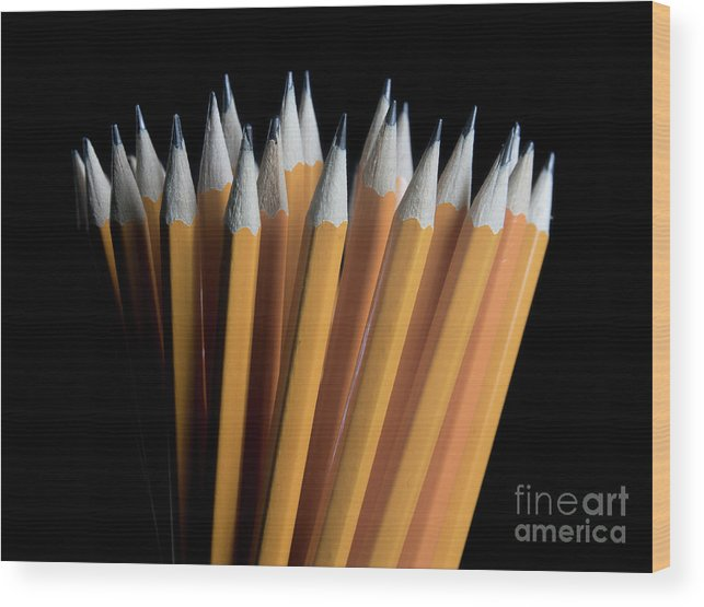 Pencil Wood Print featuring the photograph A Bunch Of Pencils by Daniel Carneiro