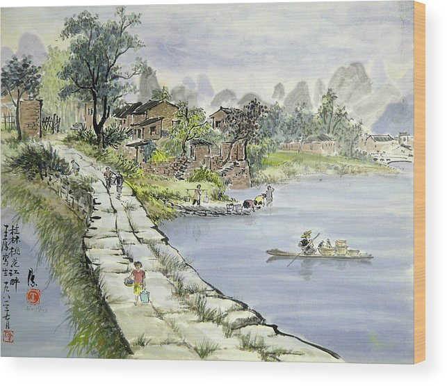 Village Wood Print featuring the painting A Chinese Village by Ying Wong