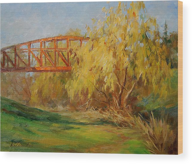 Landscape Wood Print featuring the painting A Secret Little Red Bridge by Kelvin Lei