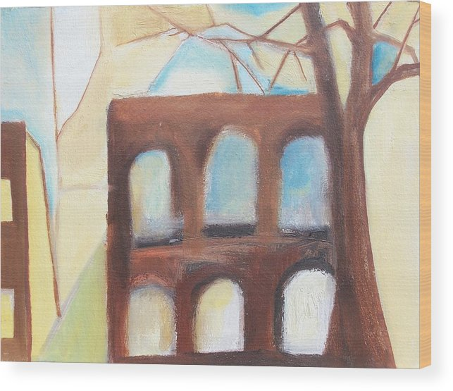 Abstract Wood Print featuring the painting Abandoned by Ron Erickson