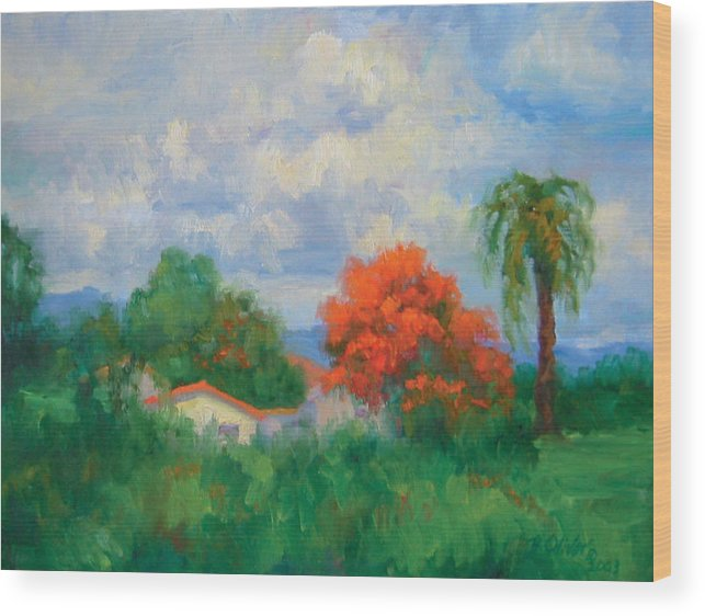 Honduras Wood Print featuring the painting Acacias And Red Roofs by Bunny Oliver