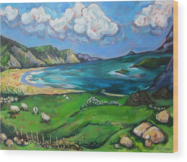 Ireland Wood Print featuring the painting Achill Island by Annie Scheumbauer