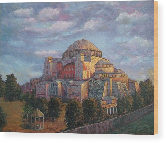 Church Wood Print featuring the painting Agia Sofia by Charalampos Laskaris