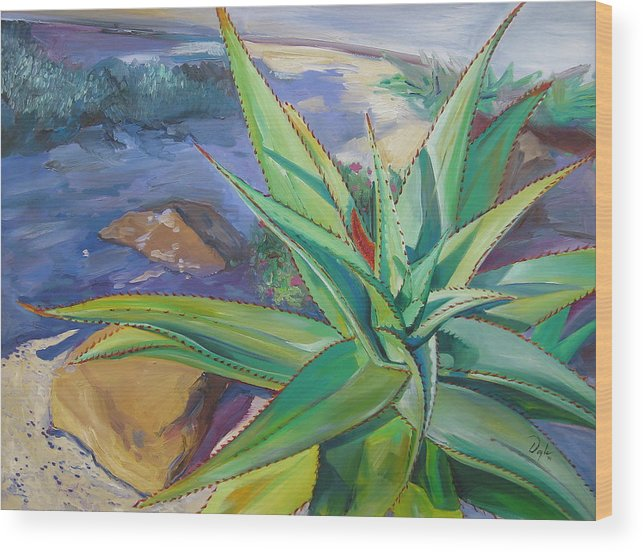 Plants Wood Print featuring the painting Aloe Vera Number Two by Karen Doyle