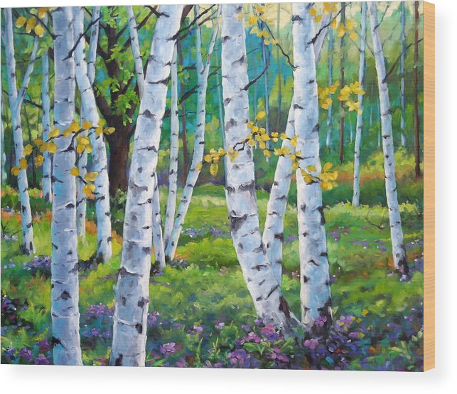 Birche; Birches; Tree; Trees; Nature; Landscape; Landscapes Scenic; Richard T. Pranke; Canadian Artist Painter Wood Print featuring the painting Alpine Flowers And Birches by Richard T Pranke
