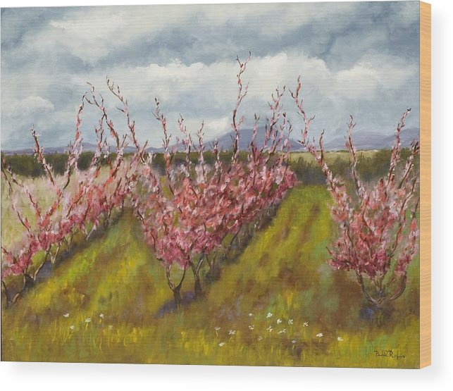 Apple Tree Wood Print featuring the painting Apple Hill Springtime by Brenda Williams