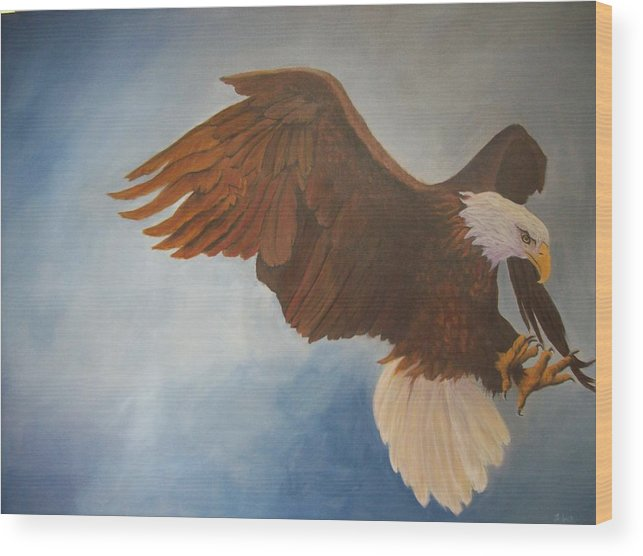 Bald Eagle Wood Print featuring the painting Attack Life by Bill Werle