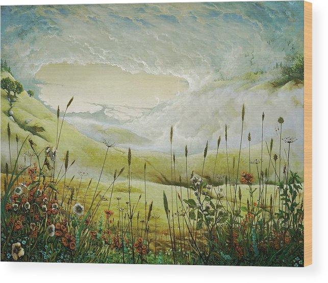 Clouds Wood Print featuring the print AUM by Boris Koodrin