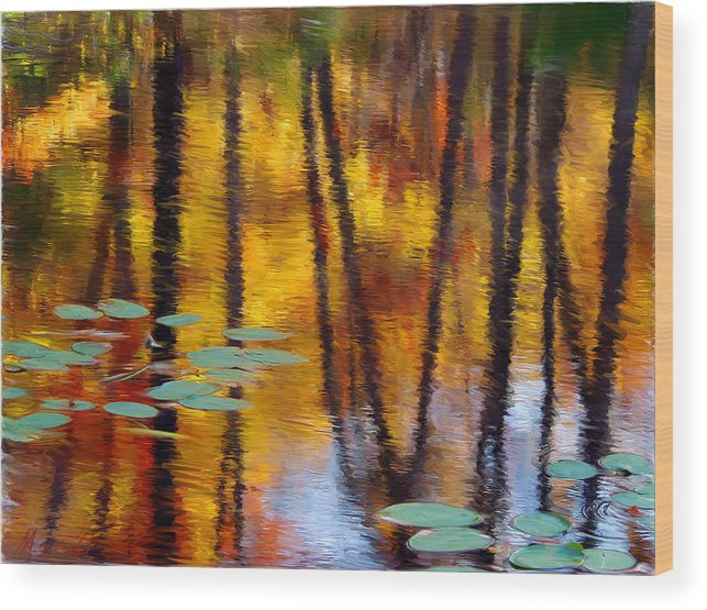 Painting Wood Print featuring the painting Autumn Reflections II by Ron Morecraft