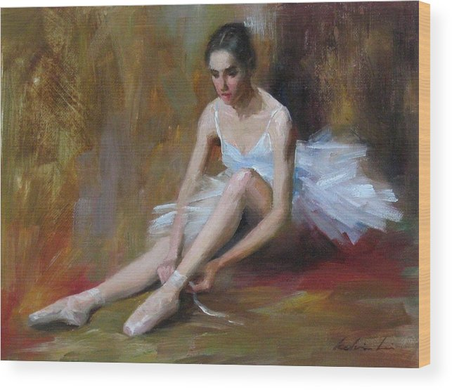 Figurative Wood Print featuring the painting Ballerina D by Kelvin Lei