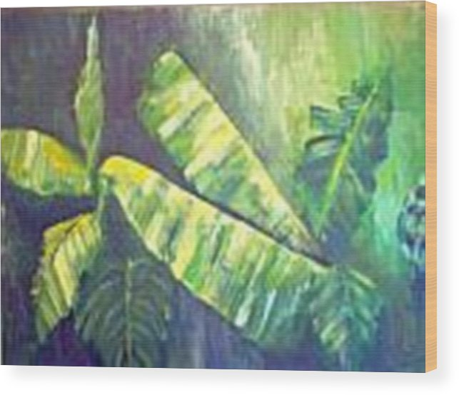 Banana Leaf Wood Print featuring the painting Banan Leaf by Carol P Kingsley