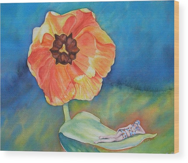 Flower Wood Print featuring the painting Barefoot One by Linda Corbet