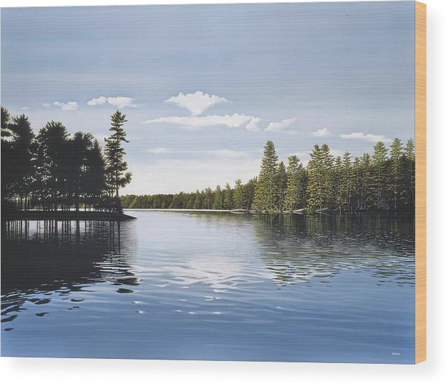 Landscapes Wood Print featuring the painting Bay On Lake Muskoka by Kenneth M Kirsch