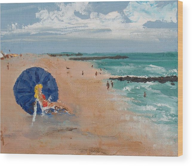 Ocean Wood Print featuring the painting Beach Blond by Pete Maier
