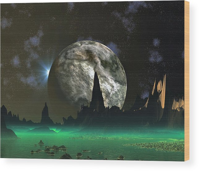 David Jackson Beach Eclipse Alien Landscape Planets Scifi Wood Print featuring the digital art Beach Eclipse by David Jackson