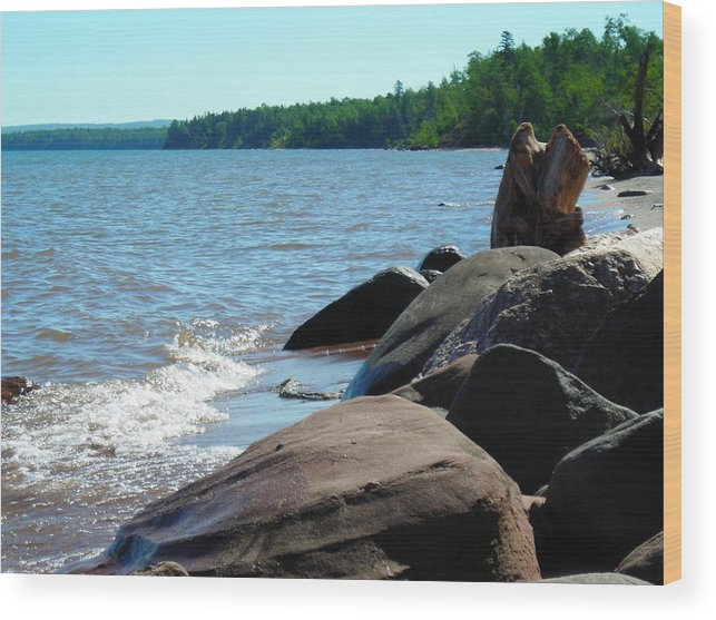Beach Wood Print featuring the photograph Beach On The Rocks by Peter Mowry
