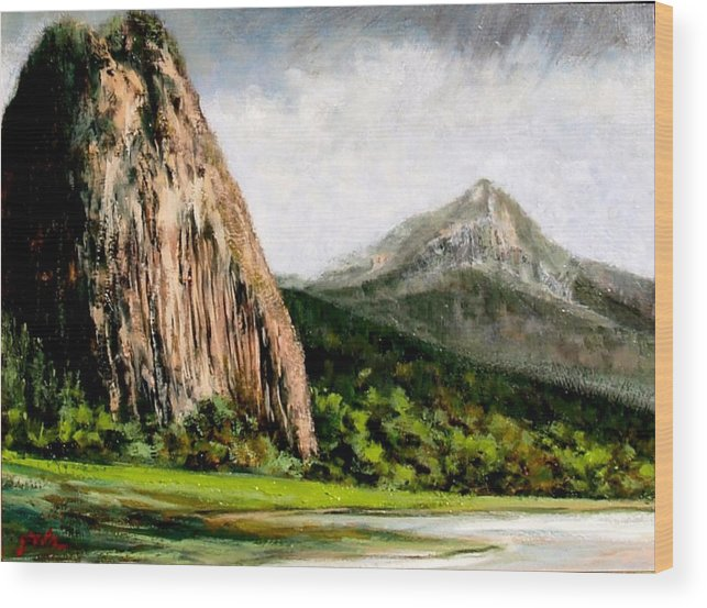 Landscape Wood Print featuring the painting Beacon Rock Washington by Jim Gola