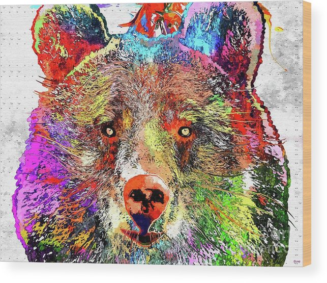 Bear Colored Wood Print featuring the mixed media Bear Colored Grunge by Daniel Janda