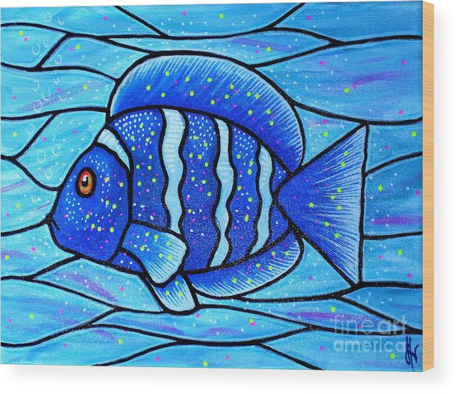 Tropical Fish Wood Print featuring the painting Beckys Blue Tropical Fish by Jim Harris