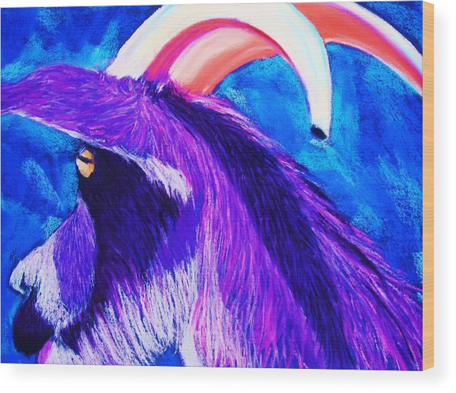 Goat Wood Print featuring the pastel Billy The Kid by Melinda Etzold