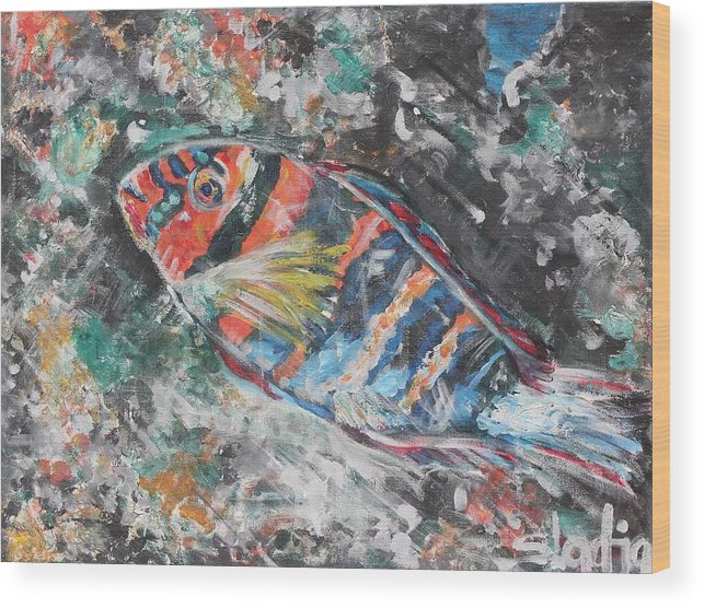 Fish Wood Print featuring the painting Blend by Sladjana Lazarevic