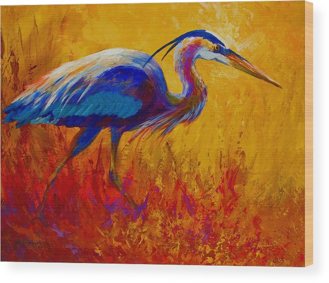 Heron Wood Print featuring the painting Blue Heron by Marion Rose